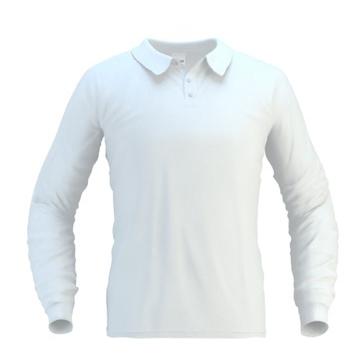 236a5a6b5913 Рубашка поло мужская с длинным рукавом на трех пуговицах, белая